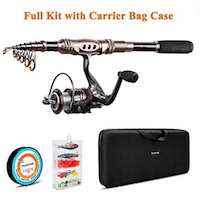 PLUSINNO Fishing Rod and Reel Combos Carbon Fiber Telescopic Fishing Rod with Reel Combo