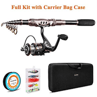 PLUSINNO Fishing Rod and Reel Combos Carbon Fiber Telescopic Fishing Rod with Reel Combo Sea Saltwater Freshwater Kit Fishing