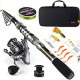Sougayilang Fishing Rod Combos with Telescopic Fishing Pole Spinning Reels Fishing Carrier Bag