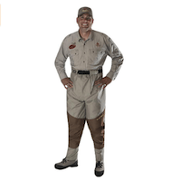 Caddis Men's Attractive 2-Tone Taupe Deluxe Breathable Stocking Foot Waist-High Wader
